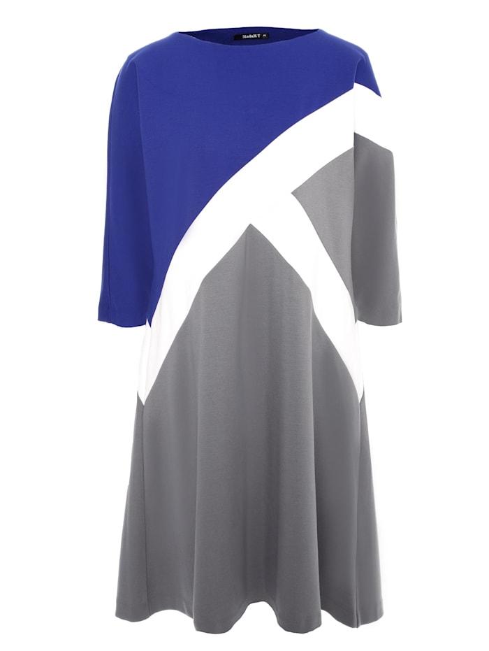 Madam-T Shirtkleid Maura, kornblume blau, grau