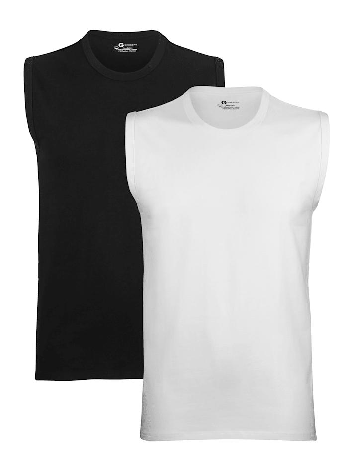 Mouwloos shirt van Pima-katoen 2 stuks, 1x zwart, 1x wit