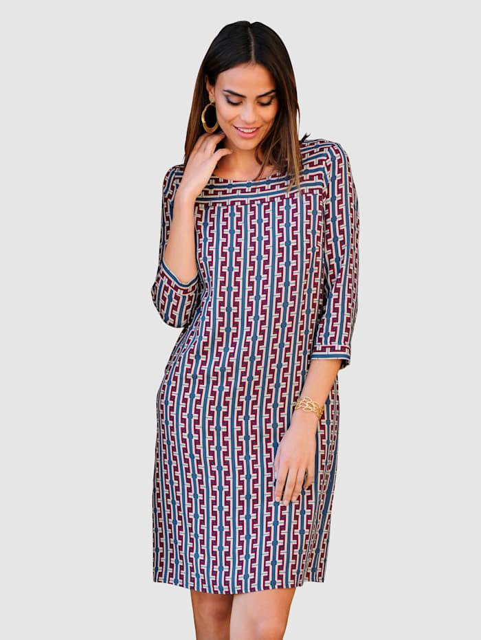 Alba Moda Kleid mit grafischem Druck allover, Blau/Rosenholz