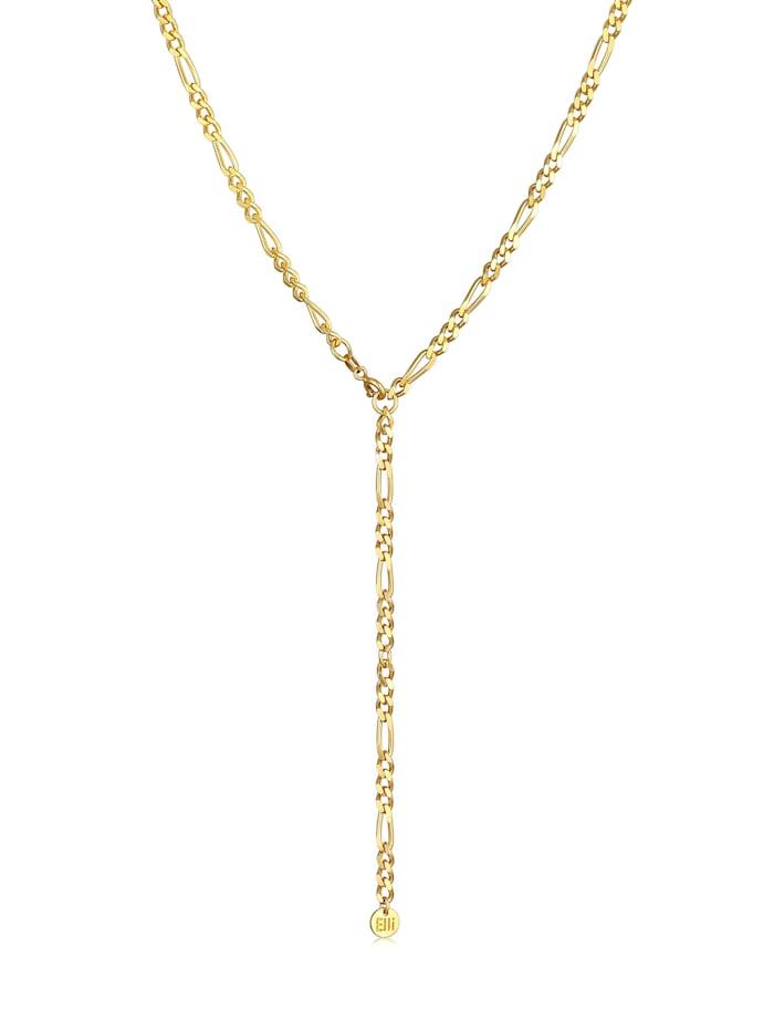 Elli Premium Halskette Figarokette Verstellbar Y-Kette Trend 925 Silber, Gold
