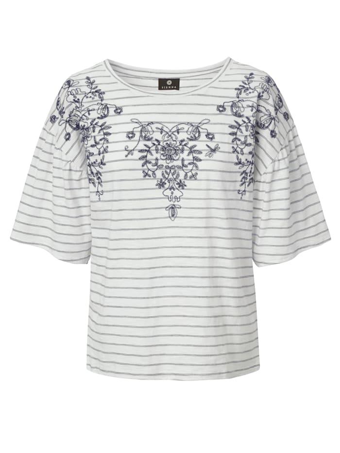 SIENNA T-Shirt mit Ringel und Stickerei, Weiß