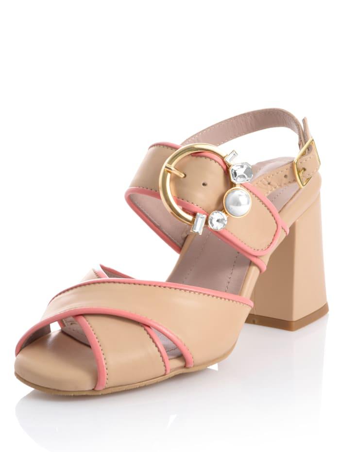 Alba Moda Sandaaltje in bicolor, Nude/Roze