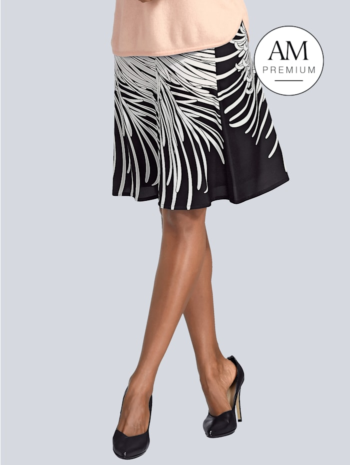Alba Moda Rock mit floralem Print, Nude/Schwarz/Weiß