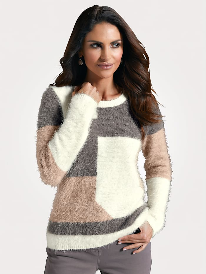MONA Jumper in a fluffy fabric, Taupe/Beige/Ivory