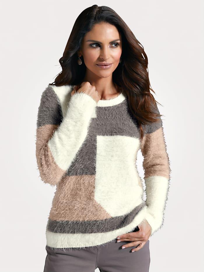 MONA Pullover mit haarigem Garn, Taupe/Beige/Natur