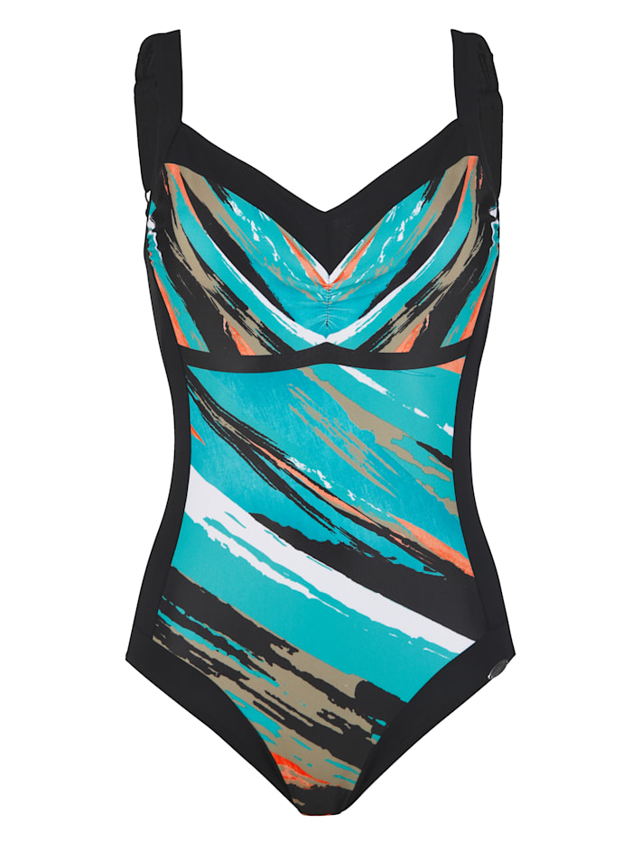 Sunflair Badpak met print, Turquoise/Zwart