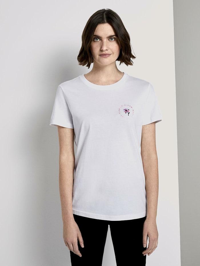 Tom Tailor T-Shirt mit floralem Print, Dove White