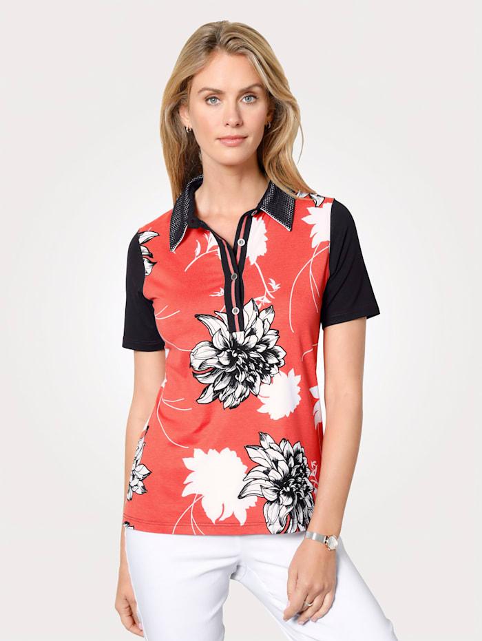 MONA Poloshirt mit Blumendruck, Koralle/Schwarz