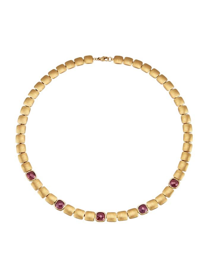 Amara Pierres colorées Collier avec 5 rubis, Rouge