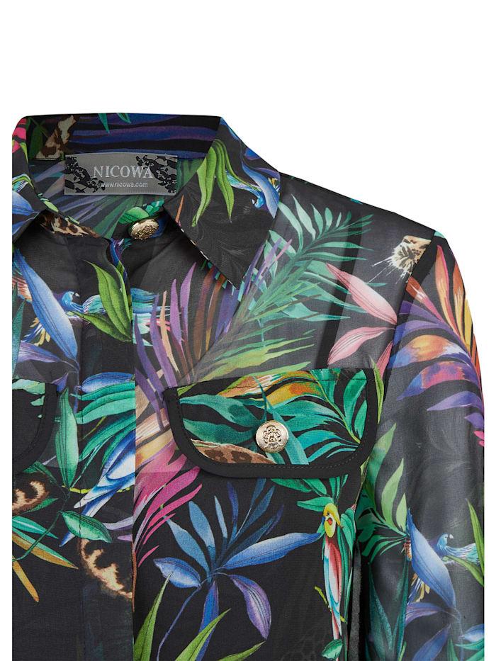 Hemdbluse mit tropischem Allover-Print - GIUNGLIO