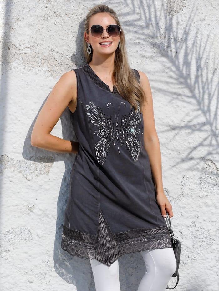 MIAMODA Kleid mit Schmetterling aus Dekosteinen, Anthrazit