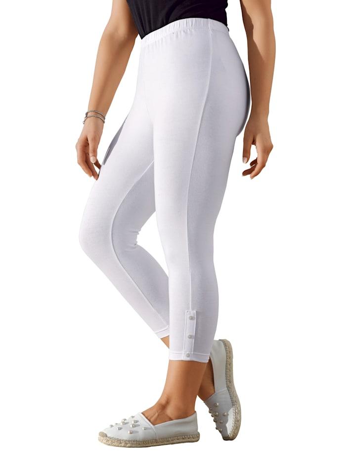 MIAMODA 7/8-legging met sierknoopjes, Wit