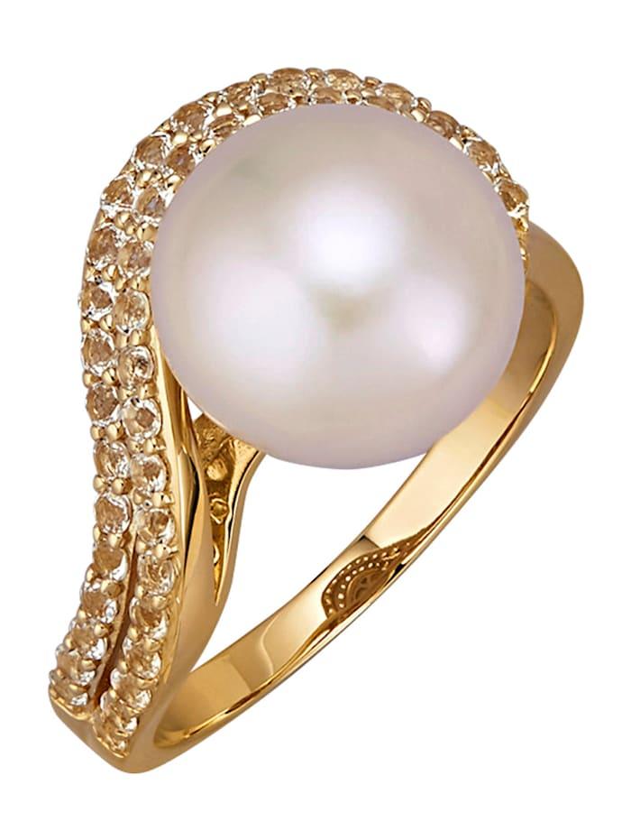 Diemer Perle Damenring in Gelbgold 585, Weiß