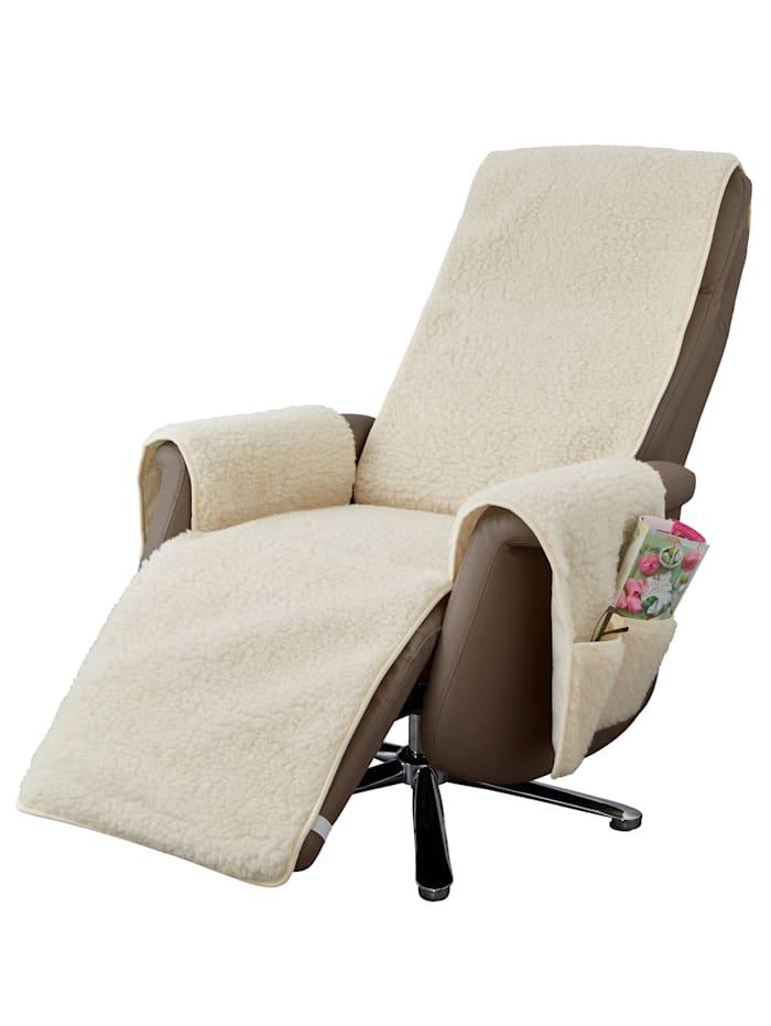 K & N Schurwolle Protection pour fauteuil en laine vierge avec protège-accoudoirs, Blanc
