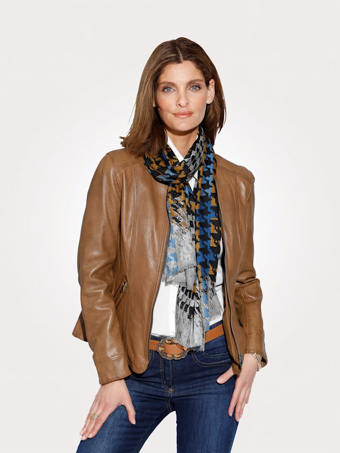MONA Leather jacket in a classic design, Cognac