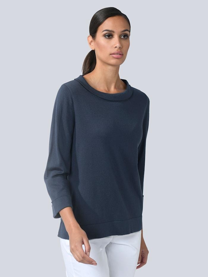 Alba Moda Pullover mit modischem Umlegekragen, Marineblau