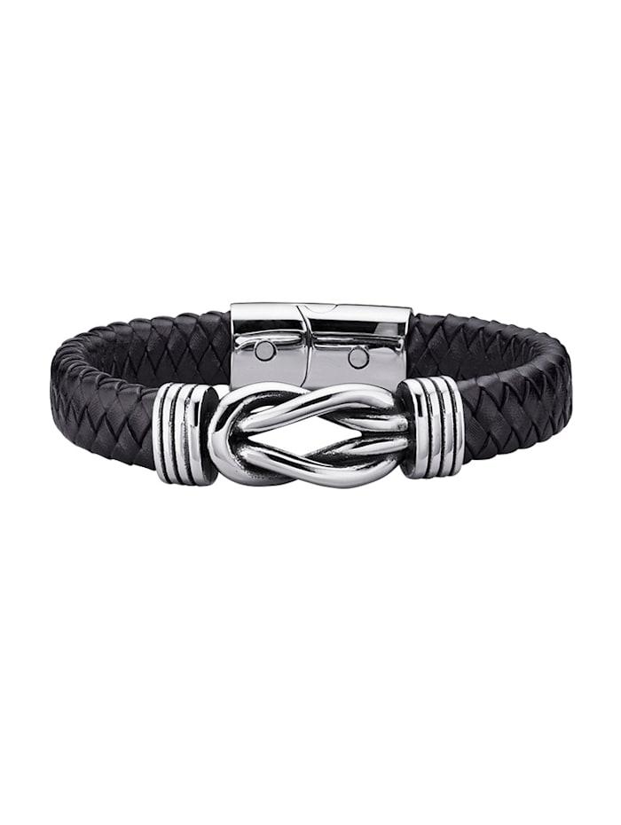 Magnetic Balance Bracelet en acier inox et cuir, Noir