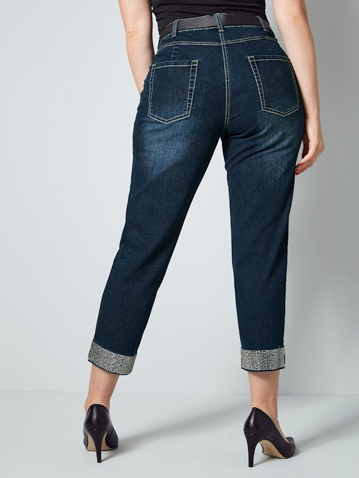 7/8-Jeans mit Strasssteinen