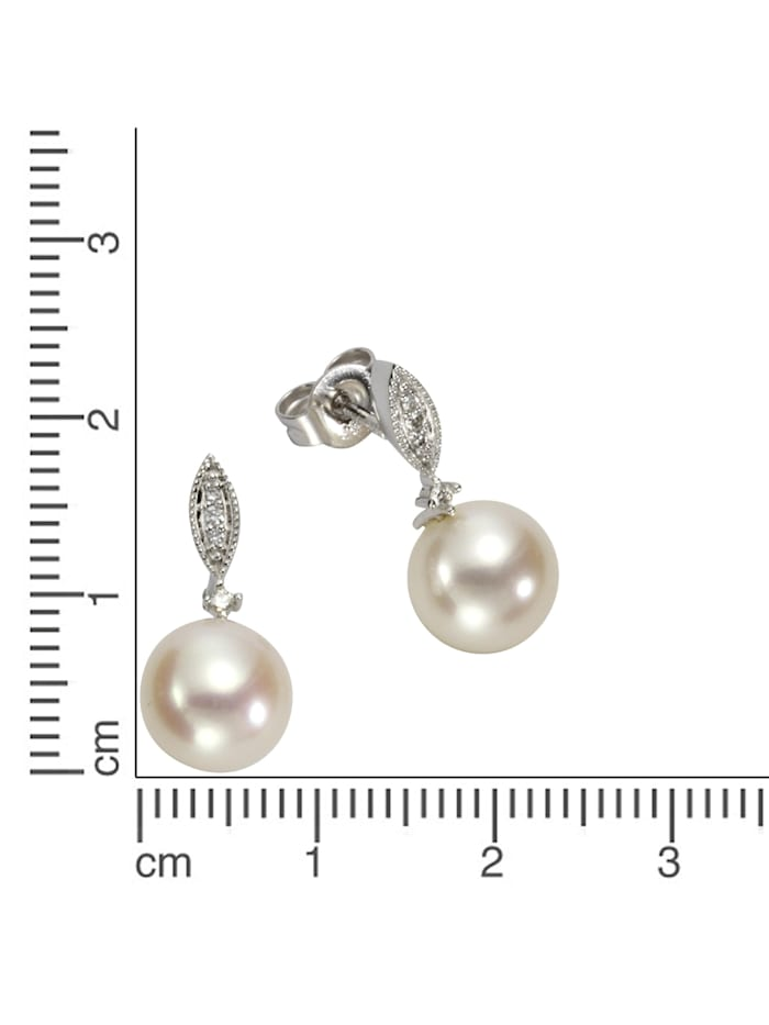 Ohrstecker 585/- Weißgold Perlen Brillanten 585/- Gold Süßwasserzuchtperle weiß 1,8cm Glänzend 585/- Gold