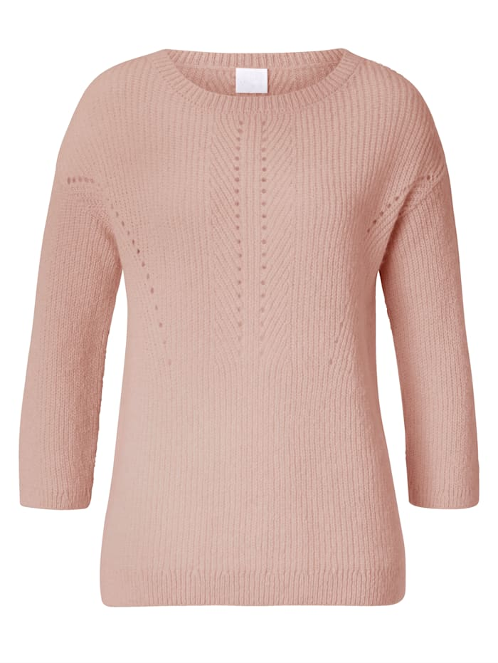 REKEN MAAR Pullover mit Ajour-Details, Rosé