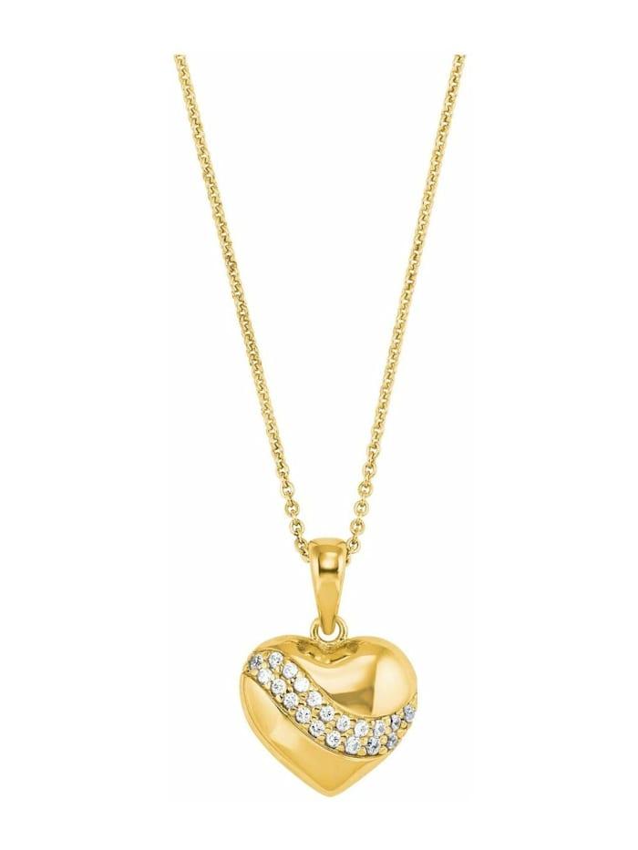 amor Kette mit Anhänger für Damen, Sterling Silber 925, Zirkonia Herz, Gold