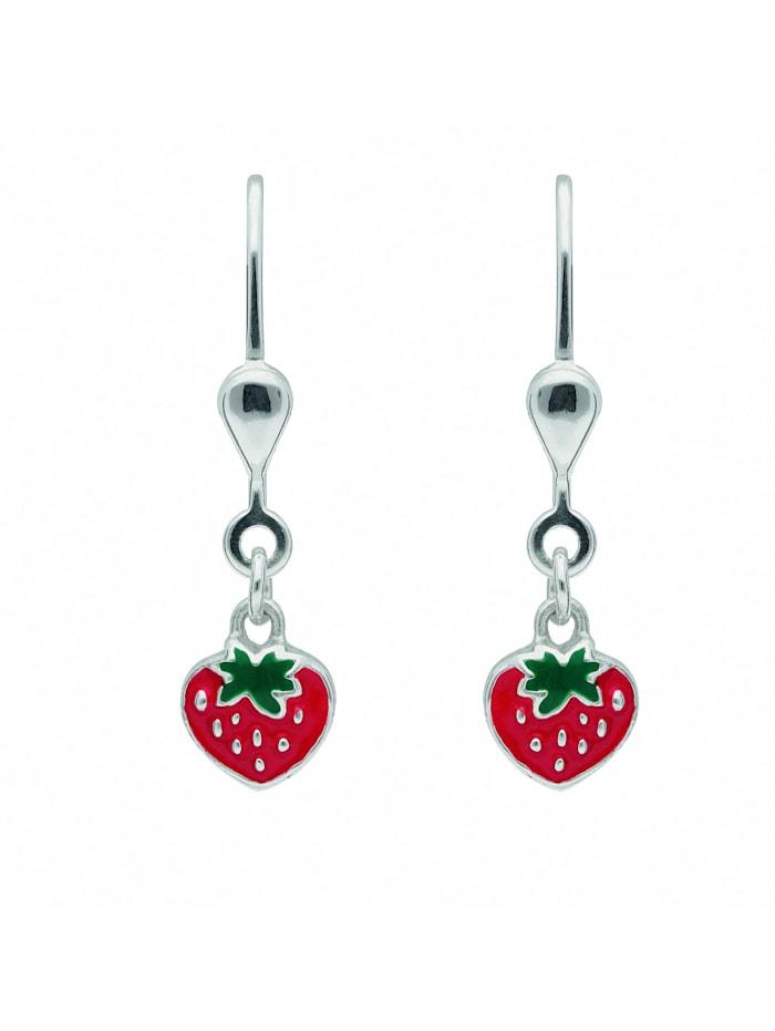 1001 Diamonds Damen Silberschmuck 925 Silber Ohrringe / Ohrhänger Erdbeere, silber