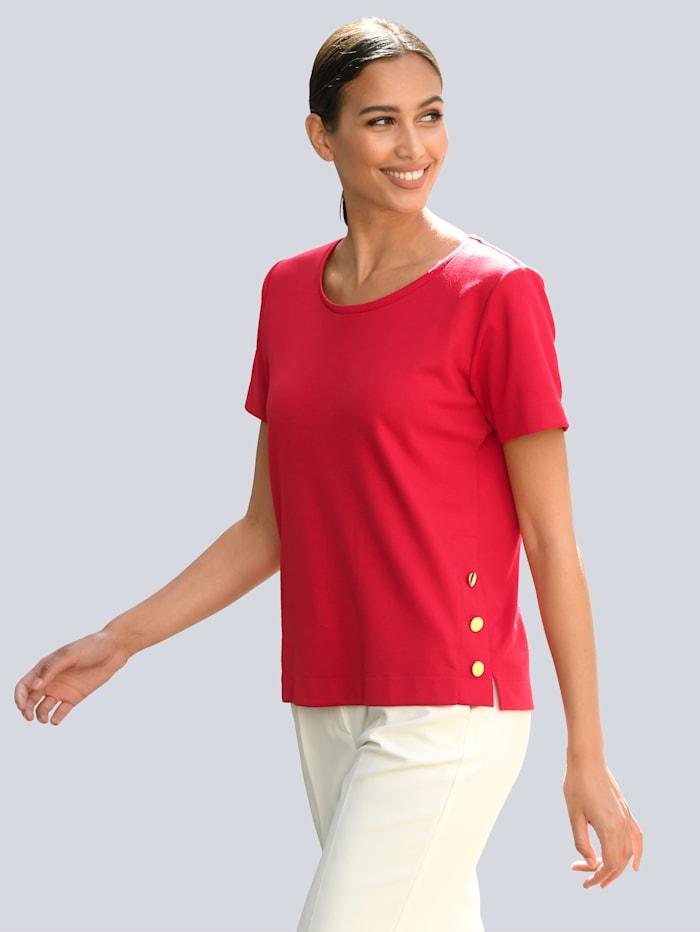 Alba Moda Shirt mit Zierknöpfen, Rot