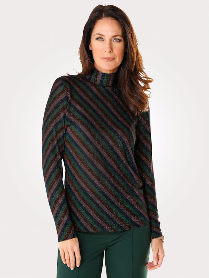 MONA Shirt mit Streifen aus Glanzjersey, Grün/Fuchsia