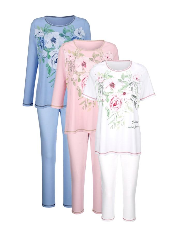 Harmony Schlafanzüge im 3er-Pack mit drei unterschiedlichen Ärmellängen, Weiß/Rosé/Hellblau