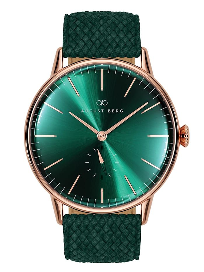 August Berg Uhr Serenity Greenhill Eye Dark Green Perlon 40mm, sunray green