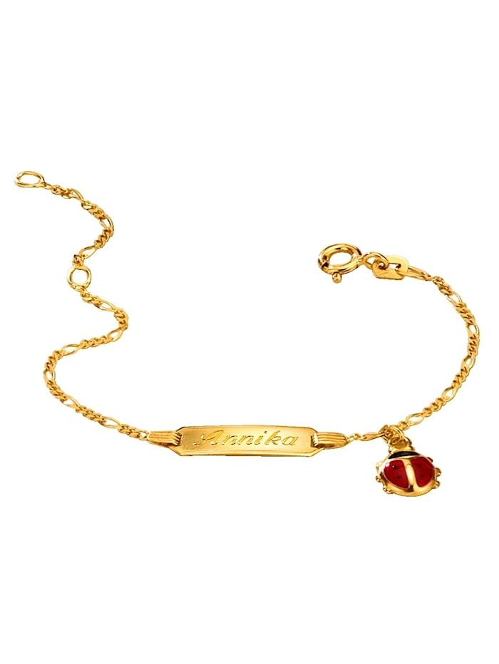 ID-Armband mit Gravurplatte für 1 Vornamen, Gelbgoldfarben