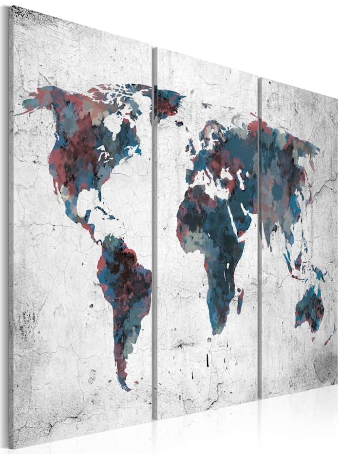 artgeist Wandbild Unentdeckte Kontinente - Triptychon, Weiß,Dunkelblau,Grau,Violett