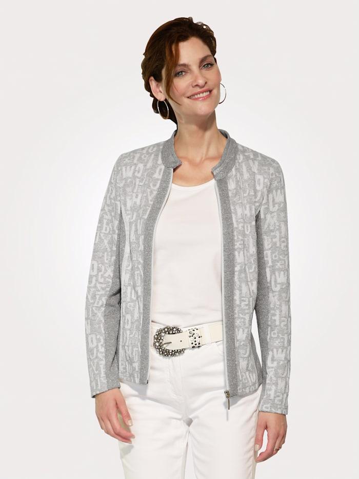 MONA Strickjacke mit Effektvollem Glanz, Hellgrau/Weiß