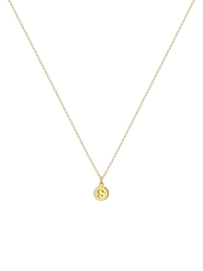 Halskette Buchstabe S Initialen Vintage Plättchen 925 Silber