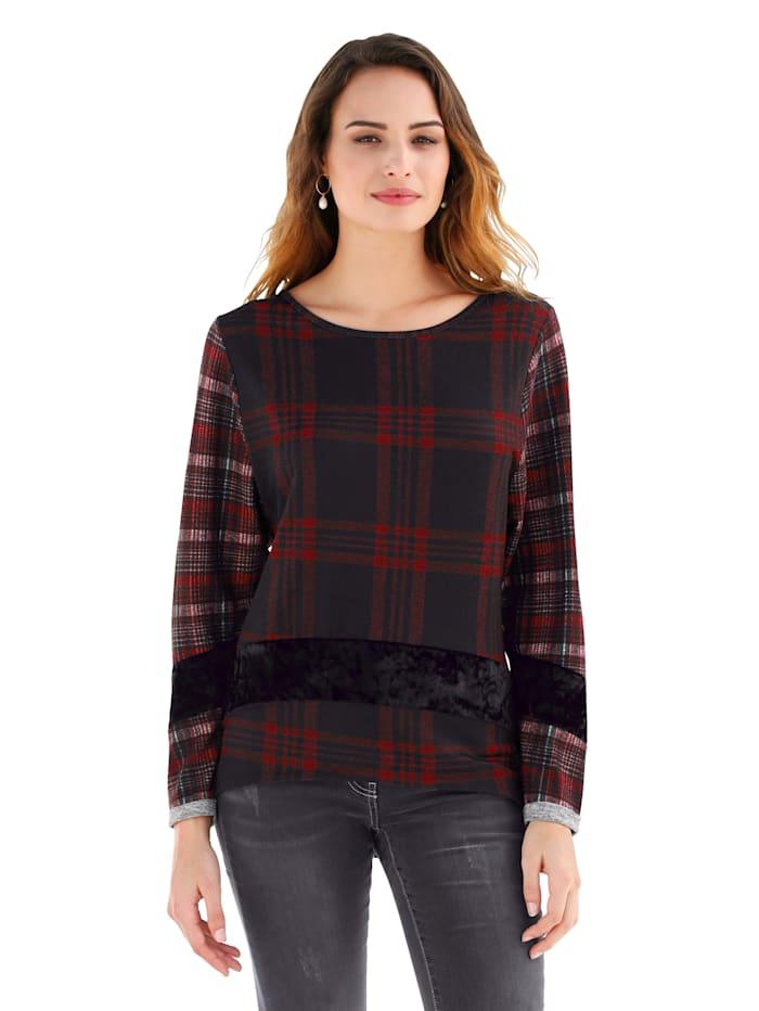 AMY VERMONT Shirt mit Karomuster und Samteinsatz, Schwarz/Rot/Grau