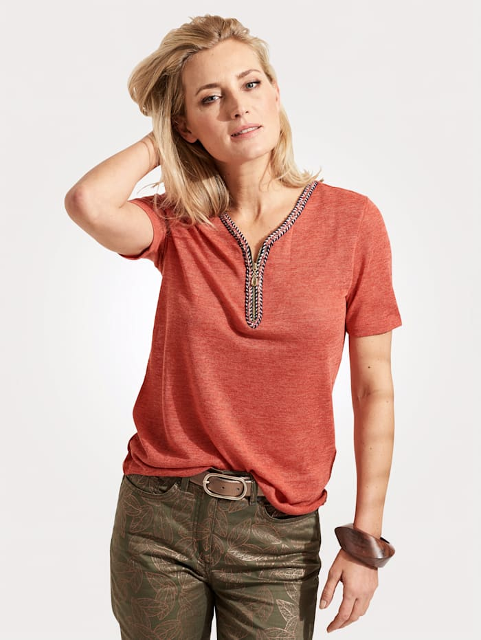 Top with a short zip placket