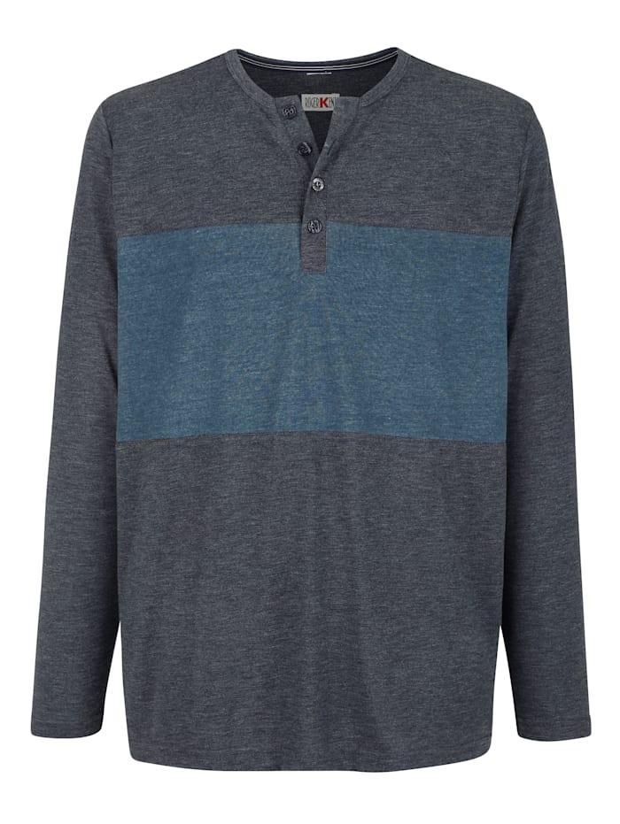 Roger Kent Shirt met knoopsluiting, Jeansblauw/Donkerblauw