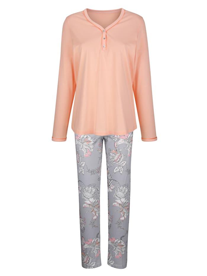 MONA Pyjama met mooie bloemenprint, Apricot/Lichtgrijs/Ecru