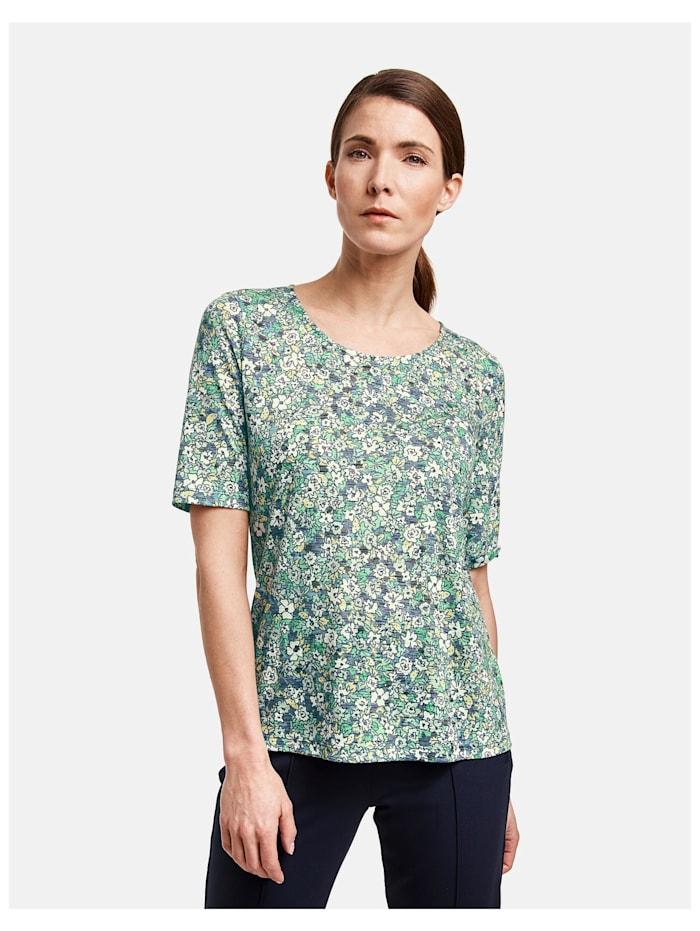 Gerry Weber 1/2 Arm Shirt mit Flowerprint, Grün/Blau Druck