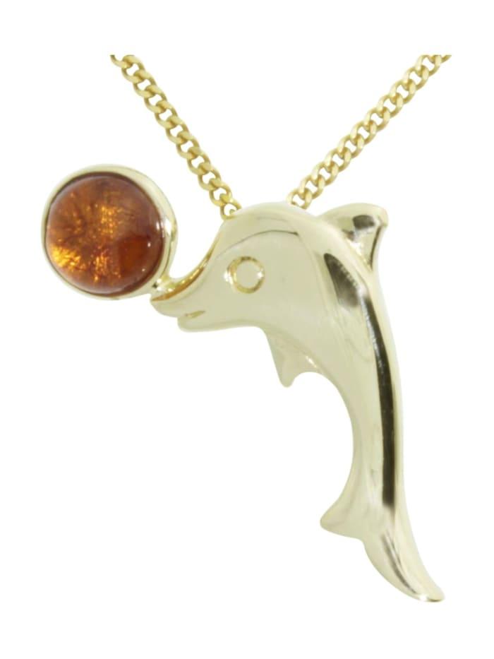 OSTSEE-SCHMUCK Kette mit Anhänger - Gleiter-Delphin - Gold 333/000 -, gold
