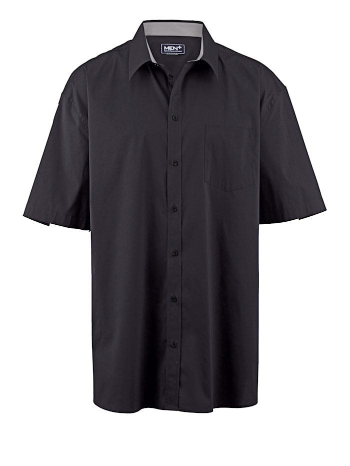 Men Plus Spezialschnitt Hemd, Schwarz