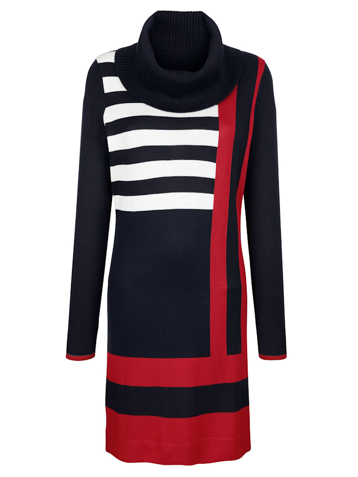 Gebreide jurk met color blocking dessin