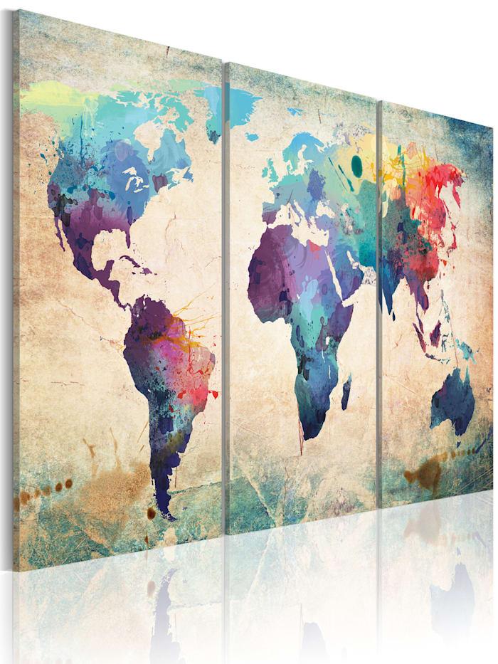 artgeist Wandbild Die Welt gemalt mit Wasserfarben, Creme,Türkis