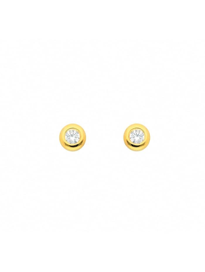 1001 Diamonds Damen Silberschmuck 925 Silber Ohrringe / Ohrstecker mit Zirkonia Ø 3,5 mm, vergoldet