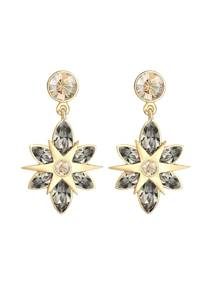 Ohrringe Hänger Stern Kristalle 925Er Silber