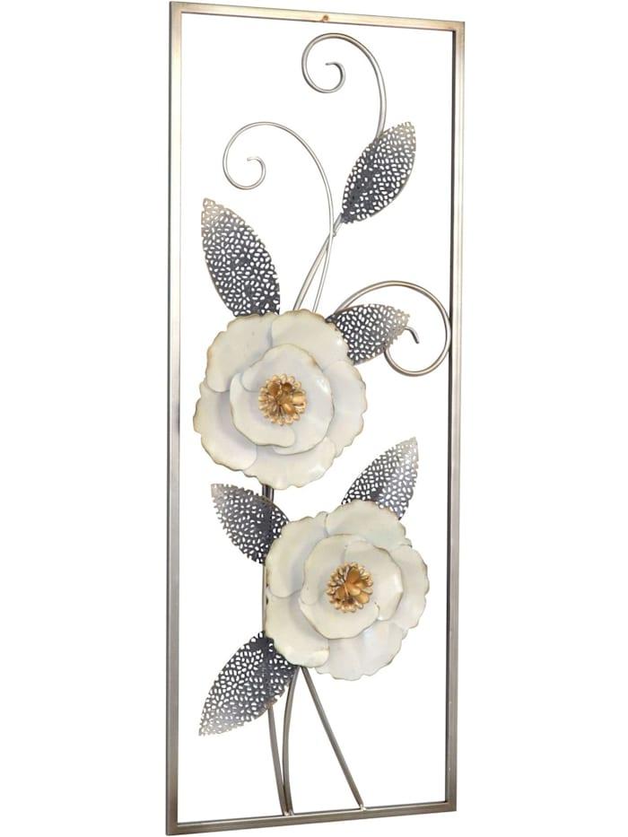 Möbel-Direkt-Online Wanddekoration Blumenmotiv mit Verzierungen, antik silber, Blüten cremeweiß mit gold kombiniert
