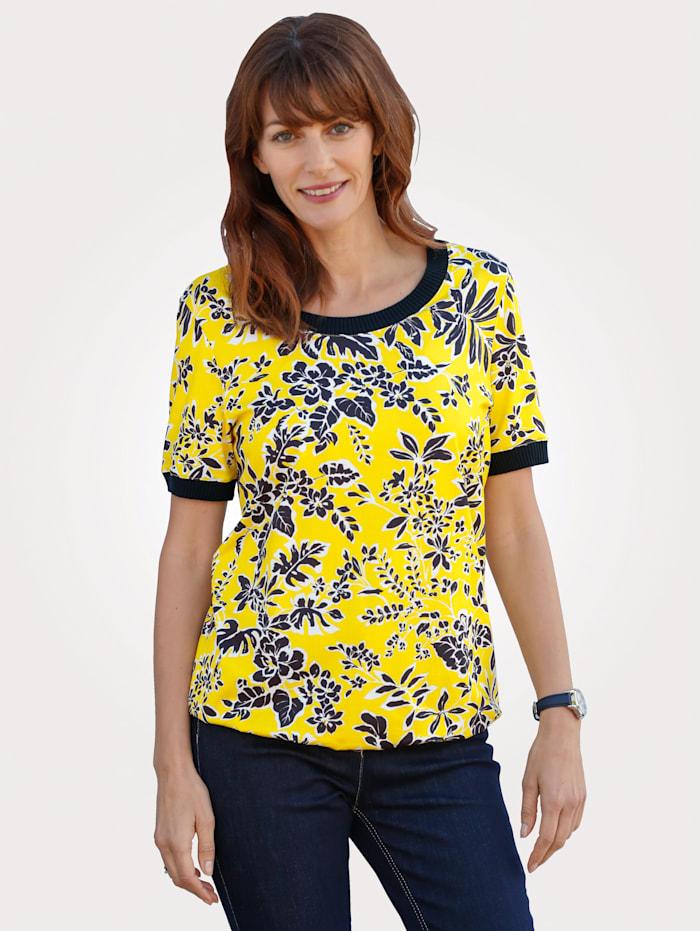 MONA Shirt mit Blätterdruck in sommerlichem gelb und marine, Gelb/Marineblau