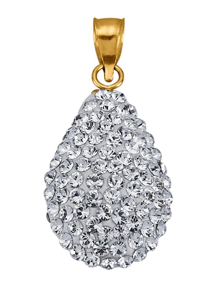 Pisaranmuotoinen kristalliriipus keltakultaa, Valkoinen
