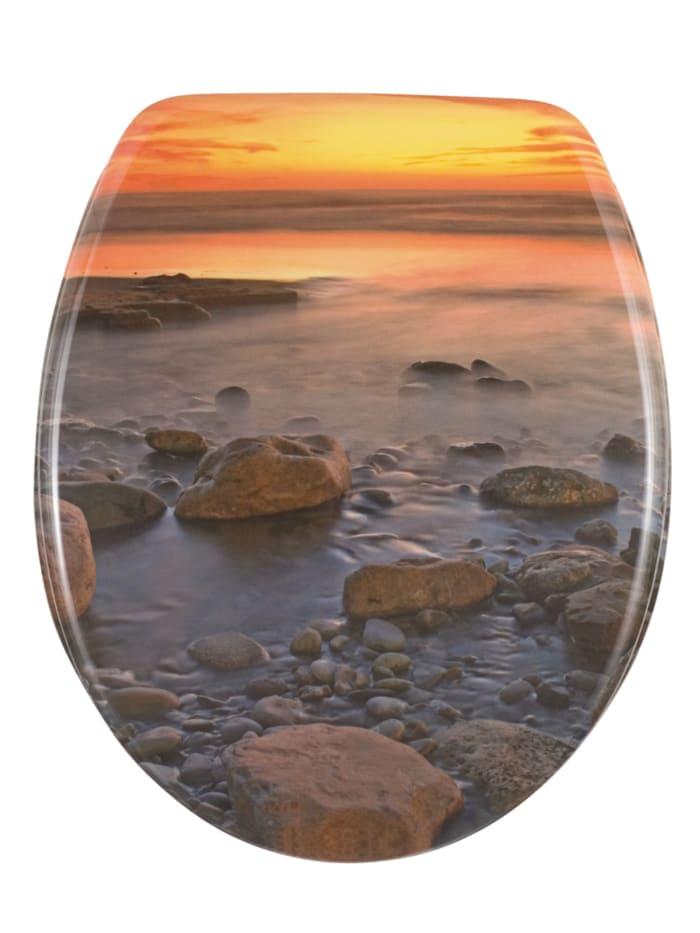 Wenko WC-Sitz Stone Shore, Mehrfarbig, Befestigung: Silber matt