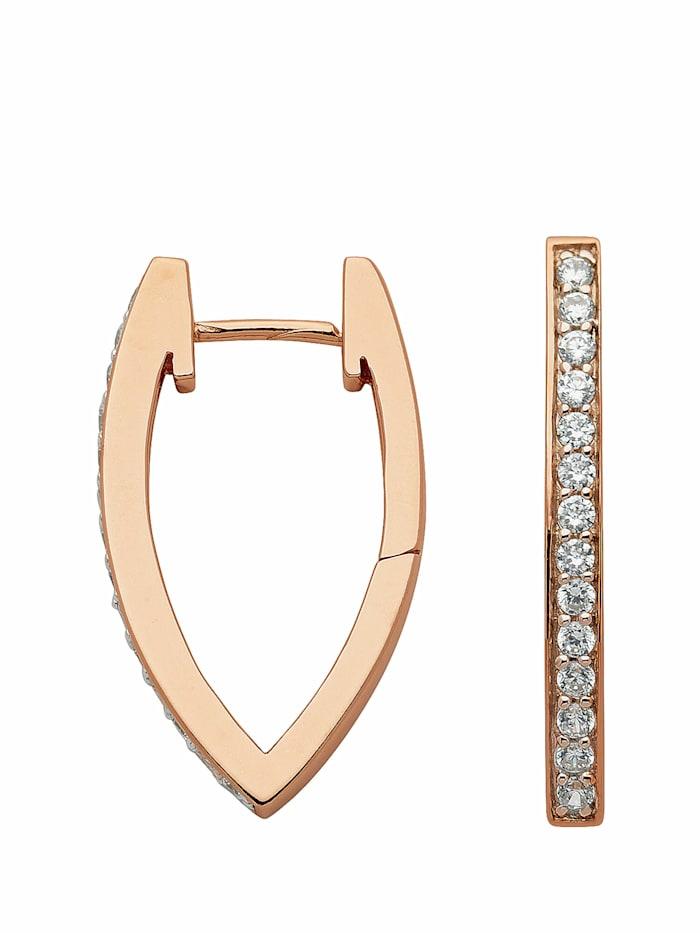 1001 Diamonds 1001 Diamonds Damen Silberschmuck 925 Silber Ohrringe / Creolen mit Zirkonia, rose